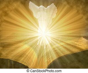 ängel, på, öppna, tände, bibel