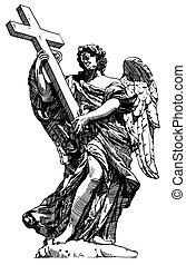 ängel, teckning, sant'angelo, staty, digital, marmor