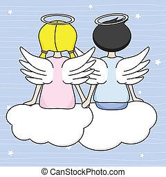 änglar, sittande, skyarna