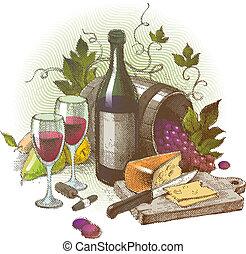 ännu, årgång, liv, vektor, vin