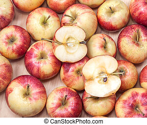 äpfel, holz, hintergrund.