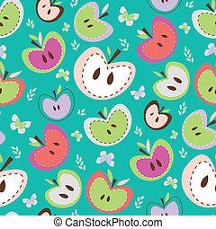 äpfel, seamless, hintergrund, retro