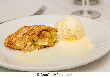 äpple, bakverk, och, smältande, glass