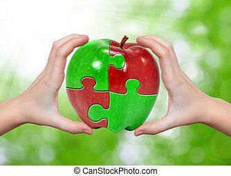 äpple, collage, in, räcker