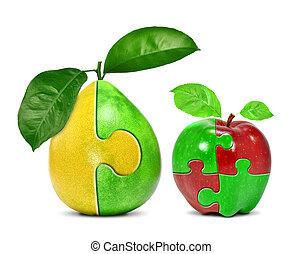 äpple, collage, med, pomelo, collage