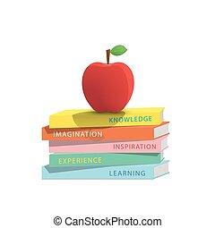 äpple, concept., illustration, stack, böcker, bakgrund, vit, utbildning, topp, vector.