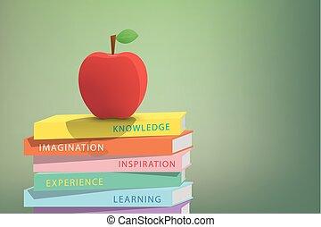 äpple, concept., illustration, stack, böcker, grön fond, utbildning, topp, vector.