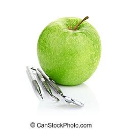 äpple, dental, isolerat, gröna vita, redskapen