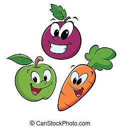 äpple, druva, morot