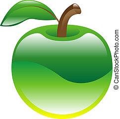 äpple, frukt, ikon, clipart
