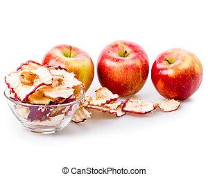 äpple, gå i flisor, isolerat