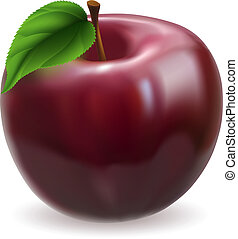äpple, illustration, röd