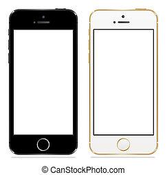 äpple, iphone, 5s, svartvitt