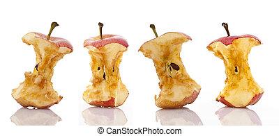 äpple, kärnar ur