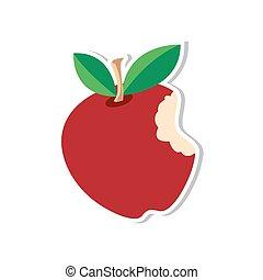äpple, märke, röd, vektor, illustrati