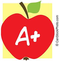 äpple, med, a, och, bakgrund