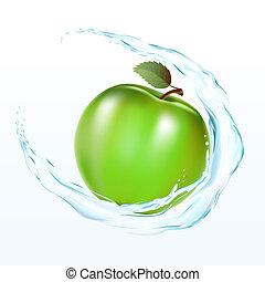äpple, med, a, wate