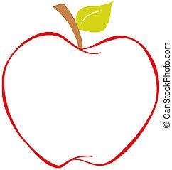 äpple, med, färg, skissera