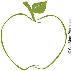 äpple, med, grön, skissera