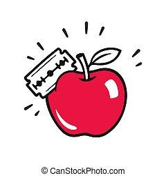 äpple, med, rakblad