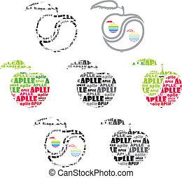 äpple, med, text