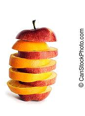äpple, och, apelsin