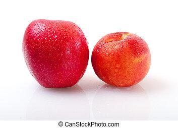 äpple, och, persika, på, a, vit