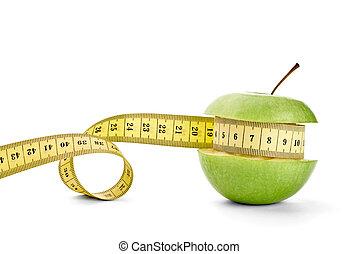 äpple, och, tejpa, kost, frisk mat, frukt