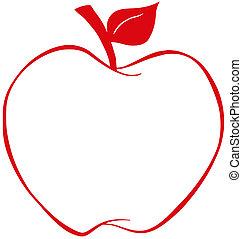äpple, röd, skissera