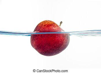 äpple, stor, under, nedgångar, vatten, splash., deeply