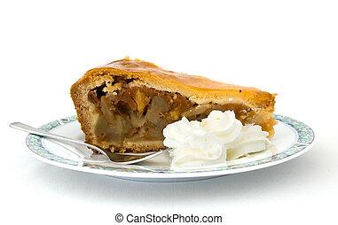 äpple tårta, med, piska kräm