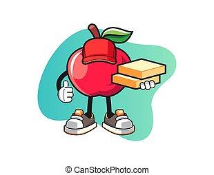 äpple, tecken, pizza, maskot, vector., leverans, cartoon.