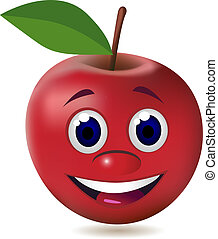 äpple, tecknad film, tecken