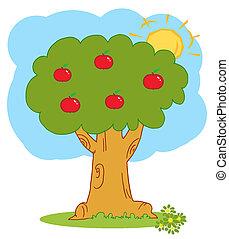 äpple träd, med, röda äpplen