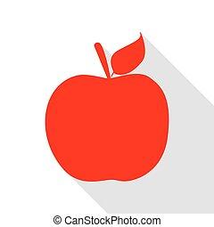äpple, underteckna, illustration., röd, ikon, med, lägenhet, stil, skugga, path.