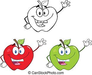 äpplen, tecken, sätta, kollektion, 1