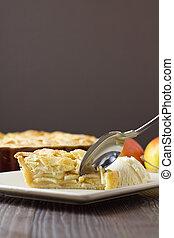 äpples andel, pastej, och, glass, med, sked, vertikal