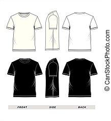ärmelpuff, t-shirt, schwarz, schablone, weißes