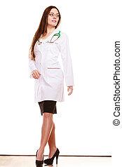 ärztin, medizinische gesundheit, sorgfalt, stethoscope.