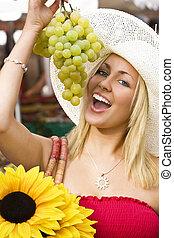 äta, druvor, in, den, marknaden