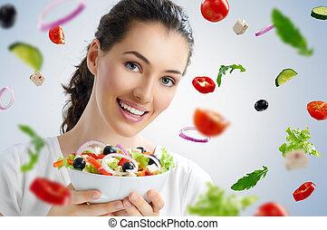 äta, frisk mat