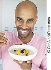äta, hälsosam, mitt, frukost, åldrig,  man
