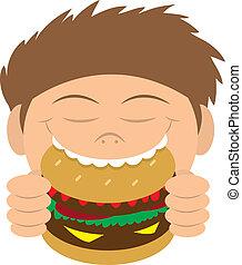 äta, hamburgare, unge
