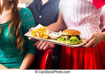 äta, middagsgäst, folk, restaurang, burger, amerikan, eller