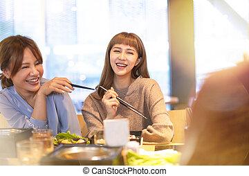 äta, restaurang, asiat, grupp, lycklig, ung