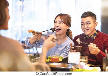 äta, restaurang, varm, vänner, kruka, ung