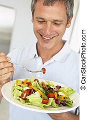 äta, sallad, hälsosam, mitt åldraades, man