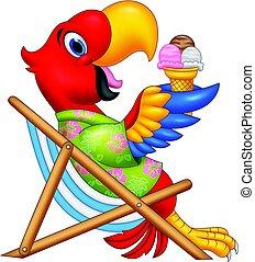 äta, sittande, is, ara, stol, strand, tecknad film, grädde