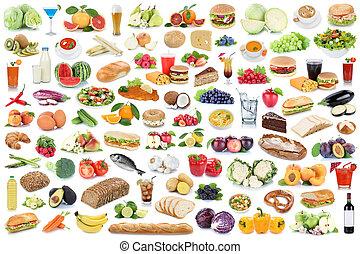 ätande mat, grönsaken, dricka, isolerat, kollektion, collage, frukt, frukter, hälsosam, drycken