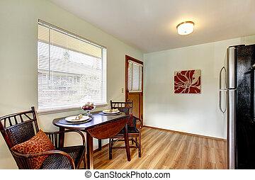ätande område, interior., liten, bord, kök